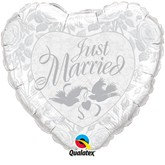 "36"" Heart Shaped Just Married Foil Balloon"