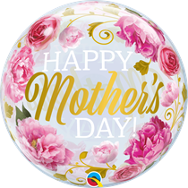 """Happy Mother's Day Pink Peonies 22"""" Bubble Balloon"""