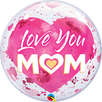 "Love You Mum Pink Heart 22"" Bubble Balloon"