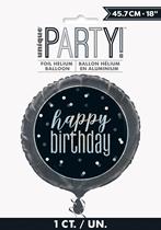 "Black Glitz Happy Birthday 18"" Foil Balloon"
