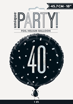 "Black Glitz 40th Birthday Prismatic 18"" Foil Balloon"