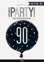 "Black Glitz 90th Birthday Prismatic 18"" Foil Balloon"