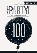 "Black Glitz 100th Birthday Prismatic 18"" Foil Balloon"