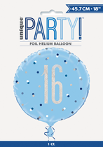 "Blue Glitz 16th Birthday Prismatic Foil 18"" Balloon"