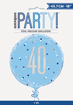 "Blue Glitz 40th Birthday Prismatic Foil 18"" Balloon"