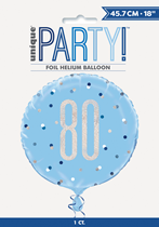 "Blue Glitz 80th Birthday Prismatic Foil 18"" Balloon"