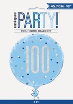 "Blue Glitz 100th Birthday Prismatic Foil 18"" Balloon"