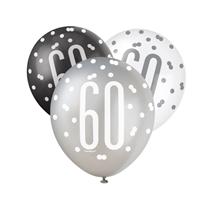 Black, Silver & White Glitz 60th Birthday Latex Balloons 6pk