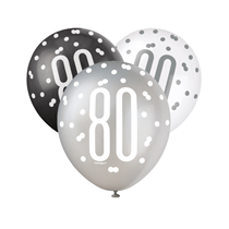 Black, Silver & White Glitz 80th Birthday Latex Balloons 6pk
