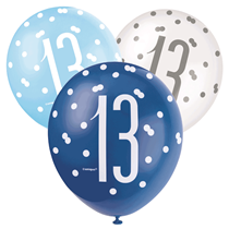 Blue & White Glitz 13th Birthday Latex Balloons 6pk