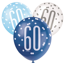 Blue & White Glitz 60th Birthday Latex Balloons 6pk