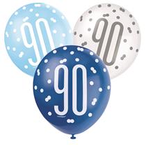 Blue & White Glitz 90th Birthday Latex Balloons 6pk