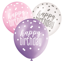 Pink, Purple, White Glitz Happy Birthday Latex Balloons 6pk