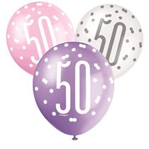 Pink, Purple, White Glitz 50th Birthday Latex Balloons 6pk