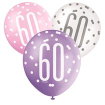 Pink, Purple, White Glitz 60th Birthday Latex Balloons 6pk