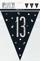 Black Glitz 13th Birthday Foil Flag Banner 9ft