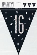 Black Glitz 16th Birthday Foil Flag Banner 9ft