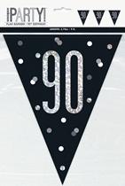 Black Glitz 90th Birthday Foil Flag Banner 9ft