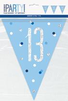 Blue Glitz 13th Birthday Foil Flag Banner 9ft