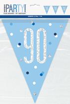 Blue Glitz 90th Birthday Foil Flag Banner 9ft