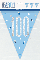 Blue Glitz 100th Birthday Foil Flag Banner 9ft