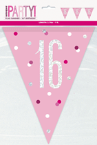 Pink Glitz 16th Birthday Foil Flag Banner 9ft