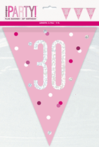Pink Glitz 30th Birthday Foil Flag Banner 9ft