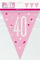 Pink Glitz 40th Birthday Foil Flag Banner 9ft