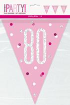 Pink Glitz 80th Birthday Foil Flag Banner 9ft