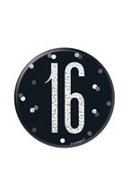 "Black Glitz 16th Birthday 3"" Badge"