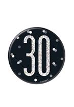 "Black Glitz 30th Birthday 3"" Badge"