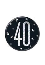 "Black Glitz 40th Birthday 3"" Badge"