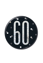 "Black Glitz 60th Birthday 3"" Badge"