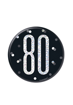 "Black Glitz 80th Birthday 3"" Badge"