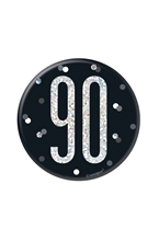 "Black Glitz 90th Birthday 3"" Badge"