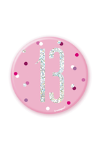 "Pink Glitz 13th Birthday 3"" Badge"