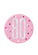 "Pink Glitz 80th Birthday 3"" Badge"