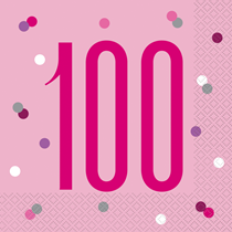 Pink Glitz 100th Birthday Napkins 16pk
