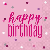 Pink Glitz Happy Birthday Napkins 16pk