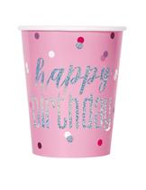 Pink Glitz Happy Birthday Foil Stamped Cups 8pk