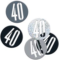 Black Glitz 40th Birthday Foil Confetti 14g