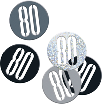 Black Glitz 80th Birthday Foil Confetti 14g