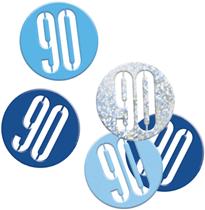 Blue Glitz 90th Birthday Foil Confetti 14g
