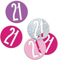 Pink Glitz 21st Birthday Foil Confetti 14g