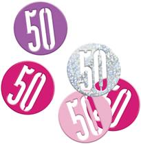 Pink Glitz 50th Birthday Foil Confetti 14g