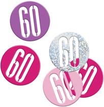 Pink Glitz 60th Birthday Foil Confetti 14g
