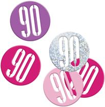 Pink Glitz 90th Birthday Foil Confetti 14g