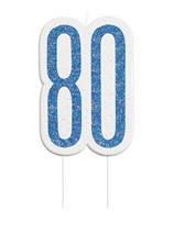 Blue Glitz 80th Birthday Candle