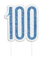Blue Glitz 100th Birthday Candle