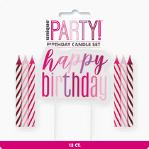 Pink Glitz Happy Birthday Pick With 12 Candles
